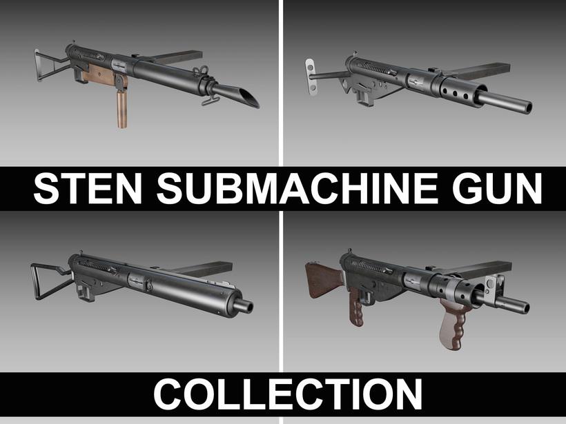 STEN Submachine gun - Collection 3D Model