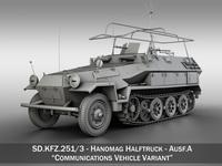 SD.KFZ 251/3 IV Ausf.A - Hanomag Radio and Command Vehilce 3D Model