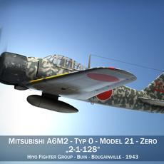 Mitsubishi A6M2 Zero - Hiyo Fighter Group 3D Model