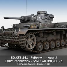 PzKpfw III - Panzer 3 - Ausf.J - 1K 3D Model