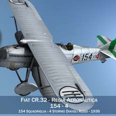 Fiat CR.32 - Italy Airforce - 154 Squadriglia 3D Model