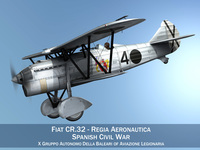 Fiat CR.32 - Italy Air Force - Gruppo Baleari 3D Model