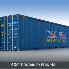 40ft Shipping Container - Wan Hai 3D Model