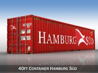 40ft Shipping Container - Hamburg Sued 3D Model