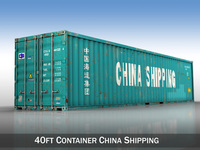 40ft Shipping Container - China Shipping 3D Model