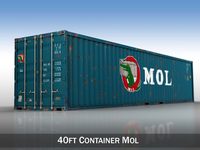 40ft Shipping Container - MOL 3D Model