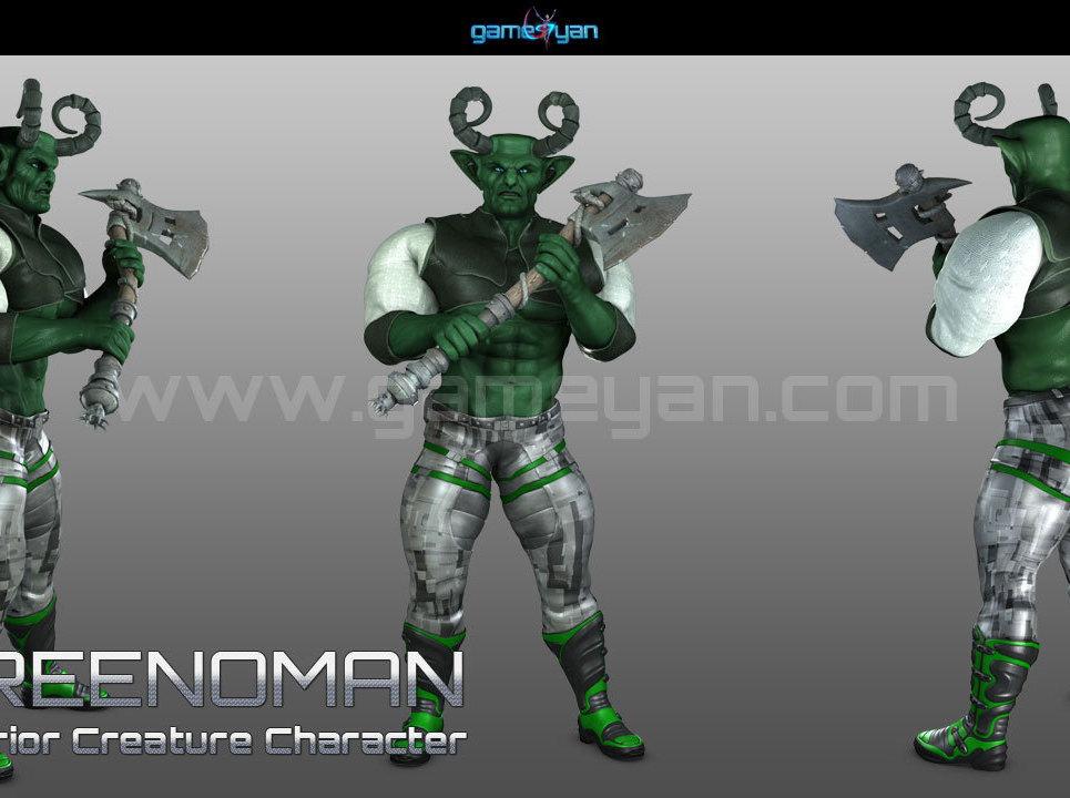 3d greenoman warrior character modeling show