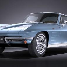 Chevrolet Corvette C2 Coupe 1963 VRAY 3D Model