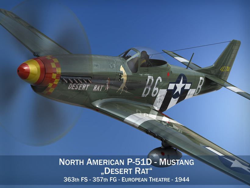 North American P-51D Mustang - Desert Rat 3D Model