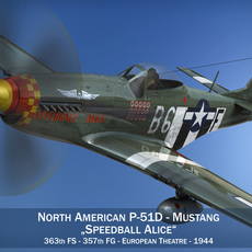 North American P-51D Mustang - Speedball Alice 3D Model