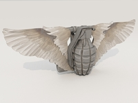 Belt buckle (hand grenade with wings) 3D Model
