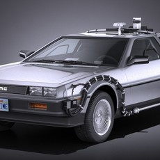 DeLorean DMC-12 Back To The Future episode 1 VRAY 3D Model