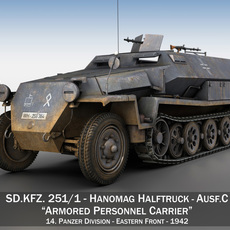 SD.KFZ 251/1 Ausf.C - Half-track - 14PD 3D Model