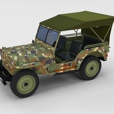 Full w chassis Jeep Willys MB Military Camo rev 3D Model