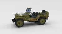Full (w chassis) Jeep Willys MB Military rev 3D Model