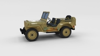 Full (w chassis) Jeep Willys MB Military Desert rev 3D Model