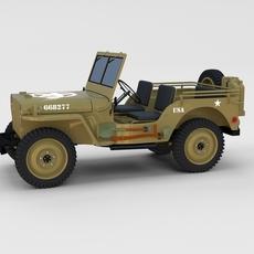 Full (w chassis) Jeep Willys MB Military Desert rev 3D Model