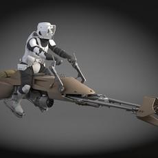 Star Wars Scout trooper with Bike 3D Model