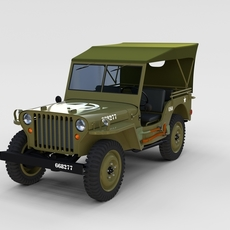 Full (w chassis) Jeep Willys MB Military Top rev 3D Model