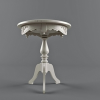 Classic round coffee table in white 3D Model