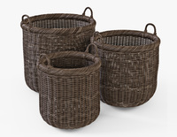 Wicker Basket 07 Walnut Brown Color 3D Model