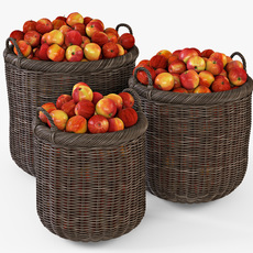 Wicker Basket 07 Walnut Brown Color with Apples 3D Model