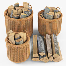 Wicker Basket 07 Toasted Oat Color with Firewood 3D Model