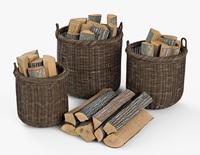 Wicker Basket 07 Walnut Brown Color with Firewood 3D Model