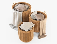 Wicker Basket 07 Toasted Oat Color with Cloth 3D Model