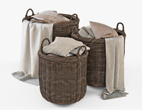 Wicker Basket 07 Walnut Brown with Cloth 3D Model