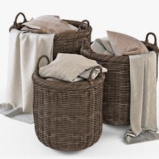 Wicker Basket 07 Walnut Brown with Cloth 3D Model