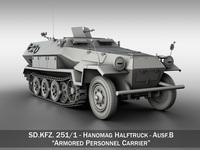 SD.KFZ 251/1 Ausf.B - Hanomag Halftruck 3D Model