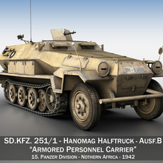 SD.KFZ 251/1 Ausf.B - Hanomag Halftruck DAK 3D Model