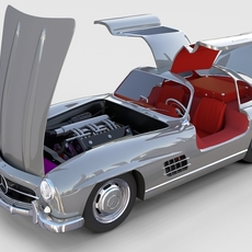 Fully Modelled/Rigged Mercedes 300SL Gullwing rev 3D Model
