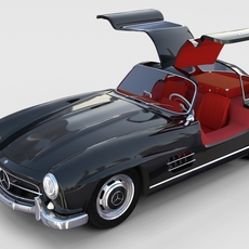 Rigged Mercedes 300SL Gullwing with Interior rev 3D Model