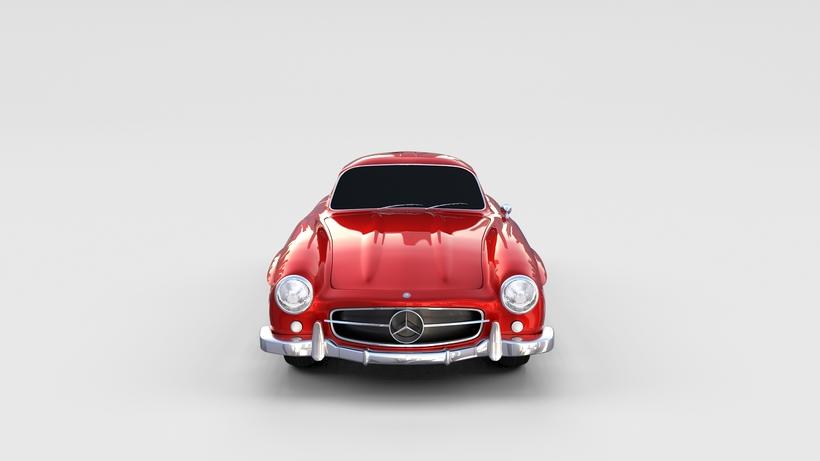 Rigged Mercedes 300SL W198 rev 3D Model
