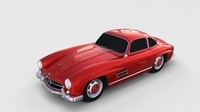 Rigged Mercedes 300SL W198 rev 3D Model