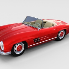 Fully Modelled Mercedes 300SL Roadster Red rev 3D Model
