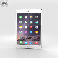 Apple iPad Mini 3 Cellular Silver 3D Model