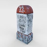 Low Poly Milestone 3D Model