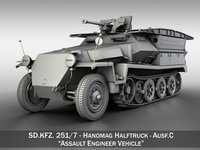 SD.KFZ 251/7 Ausf.C - Hanomag Pioneer Assault bridge 3D Model
