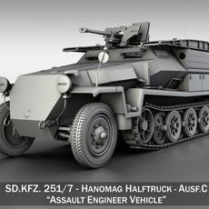 SD.KFZ 251/7 Ausf.C - Hanomag Pioneer Assault bridge 3D Model