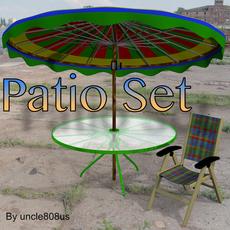 Patio Set FBX OBJ 3D Model