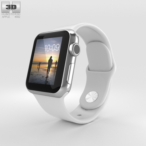 Apple Watch 38mm Stainless Steel Case White Sport Band 3D Model
