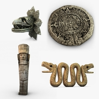 Aztec statues collection 3D Model