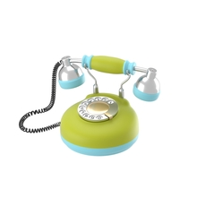Corded retro phone in bright colors 3D Model