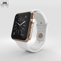 Apple Watch Edition 42mm Rose Gold Case White Sport Band 3D Model