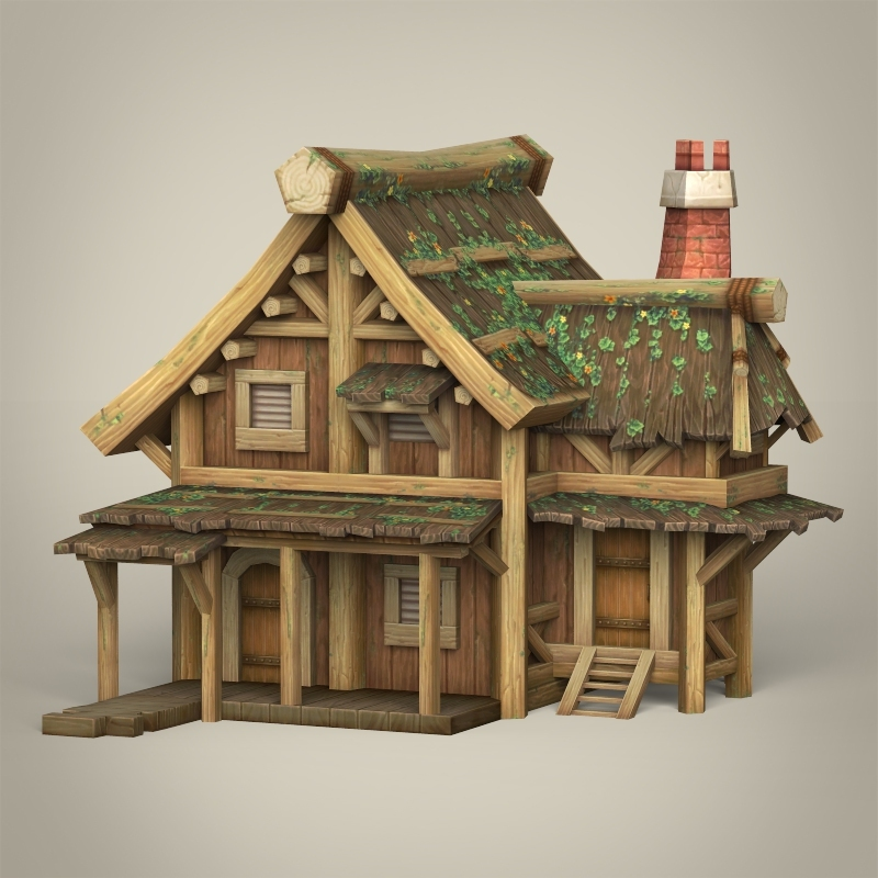 Virtual 3d Home Design Game: Game Ready Wooden House 3D Model