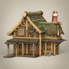 Game Ready Wooden House 3D Model