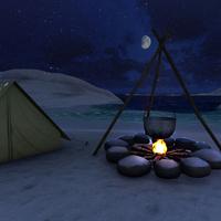 Campfire snowfall cover